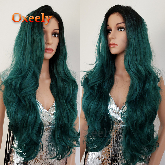 Oxeely Body Wave Ombre Green Hair Wigs Synthetic Lace Front Wig