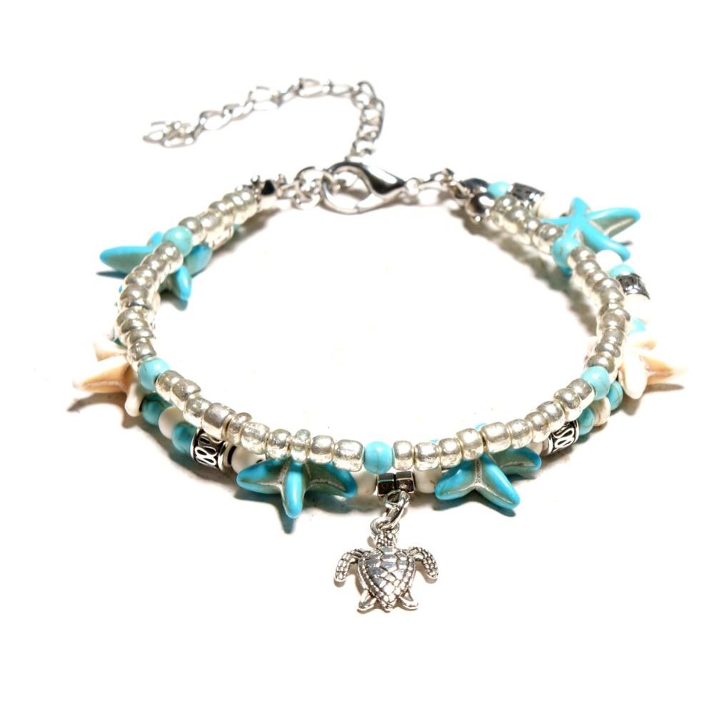 enkelbandje Bohemian Multiple Layers Starfish Turtle Beads Anklets For Women Boho Shell Chain ankle bracelet Beach halhal