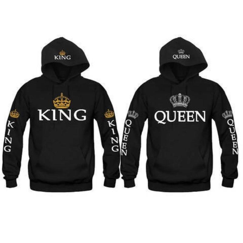 Couple Look Woman Man Hoodies Sweatshirt King Queen Crown Printed Hooded Pullover Jackets Loose Jackets Tracksuit Jumper Black