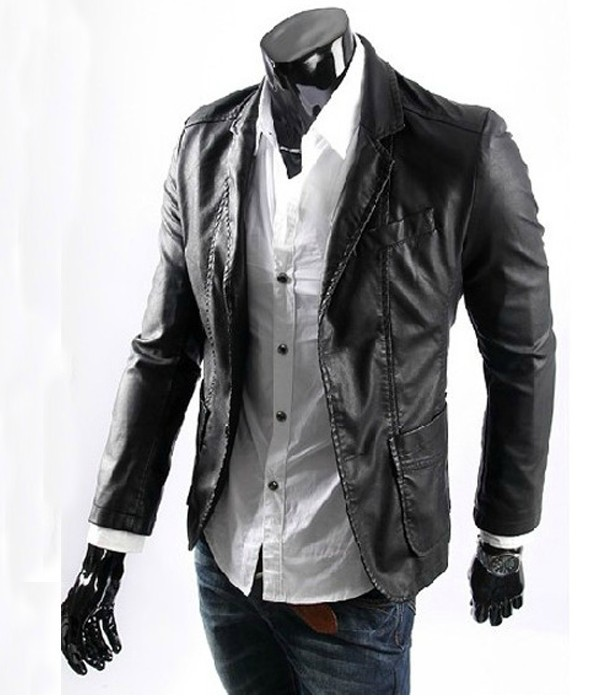 M 5XL !! 2014 Spring Men's fashion plus size leather suit blazer ...