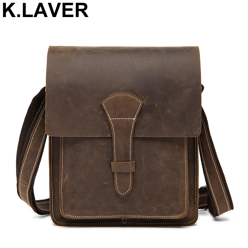 K.LAVER Crazy Horse Genuine Leather Men Handbag Male Briefcase Vintage Retro Shoulder Messenger Bag Cow Leather Crossbody Bags 560pcs dupont connector jumper wire cable pin header pin housing and male female pin head terminal adapter plug set