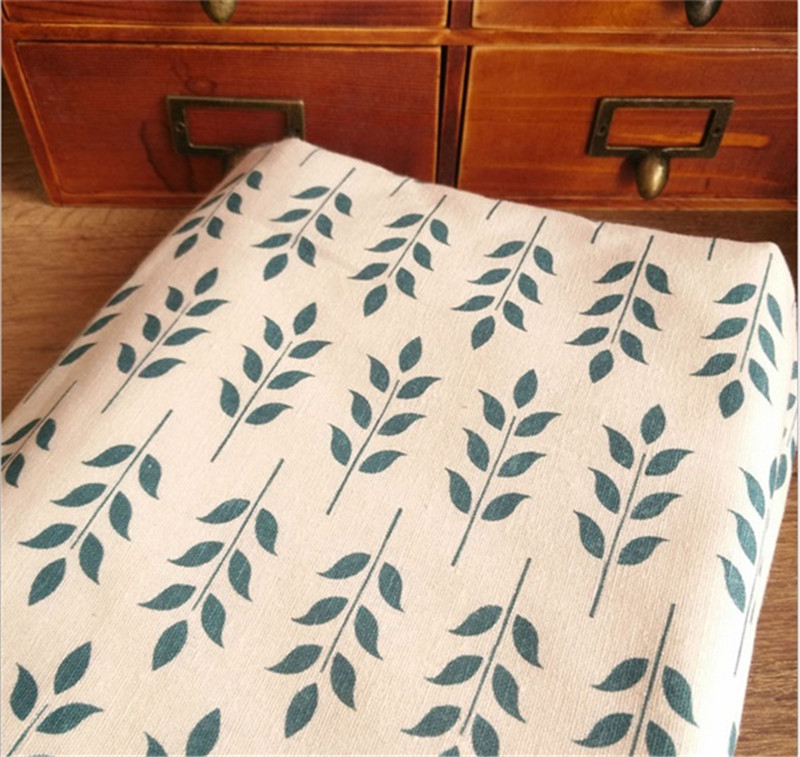<font><b>150</b></font> cm X <font><b>50</b></font> cm wholesale pastoral leaves printed fabric crafts linen fabric for tablecloth curtains sofa image