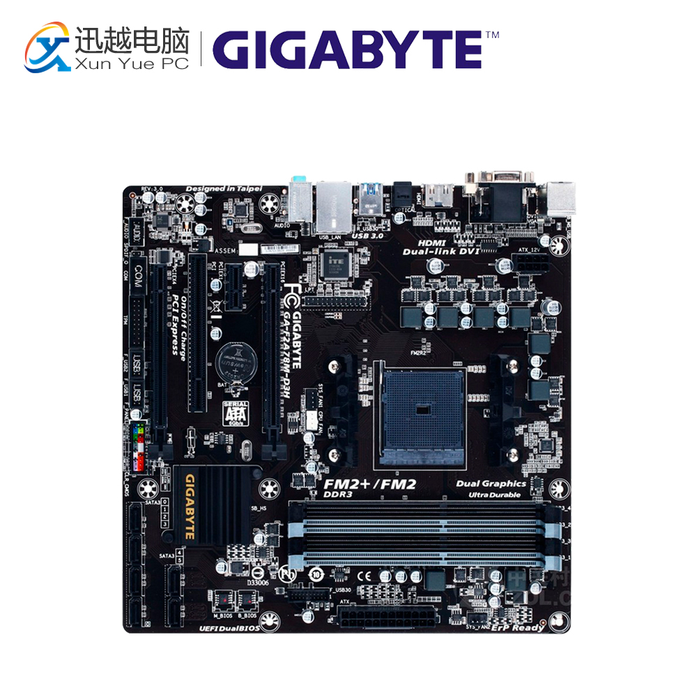 Gigabyte GA-F2A78M-D3H Desktop Motherboard F2A78M-D3H A78 Socket FM2+ DDR3 SATA3 USB3.0 Micro ATX for gigabyte ga a75 d3h original used desktop motherboard for amd a75 socket fm1 for ddr3 sata3 usb3 0 atx