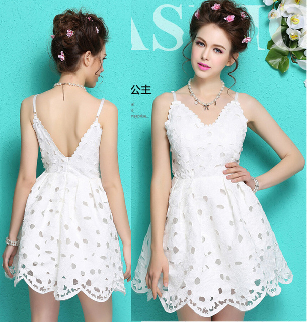 7ddb7259cab8 2015 summer sexy female fashion strap white black lace dress ladies hollow  out cute dress backless dress women Party dresses
