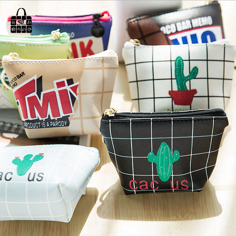 1 pcs Rose Diary Creative cute cactus snacks pu leathe bags zero font b wallet b