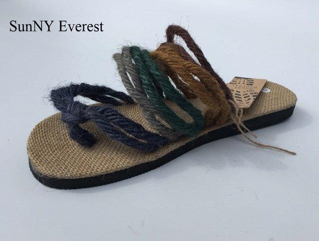 87677b910af5c 39-44 lin Nation homme Brodé Chaussures tissu Respirant sandales à la main  chanvre corde
