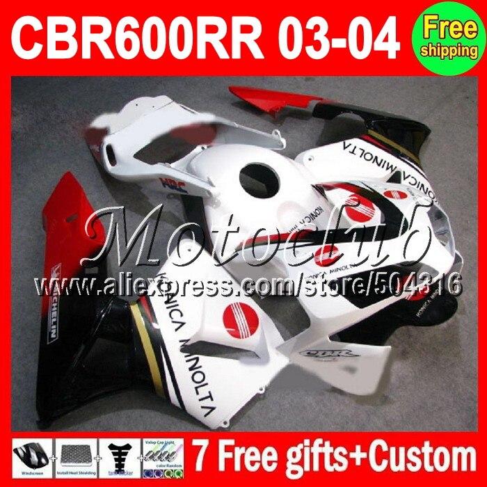 7gifts For MMC74 KONICA HONDA CBR 600 600RR 2003 2004 CBR600RR red white CBR600 RR F5 CBR600F5 CL243 03 04 2003 2004 Fairings Ki