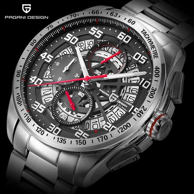 Pagani Дизайн Топ Элитный бренд спортивный хронограф Мужские часы Reloj Hombre Водонепроницаемый Повседневные часы Relogio Masculino