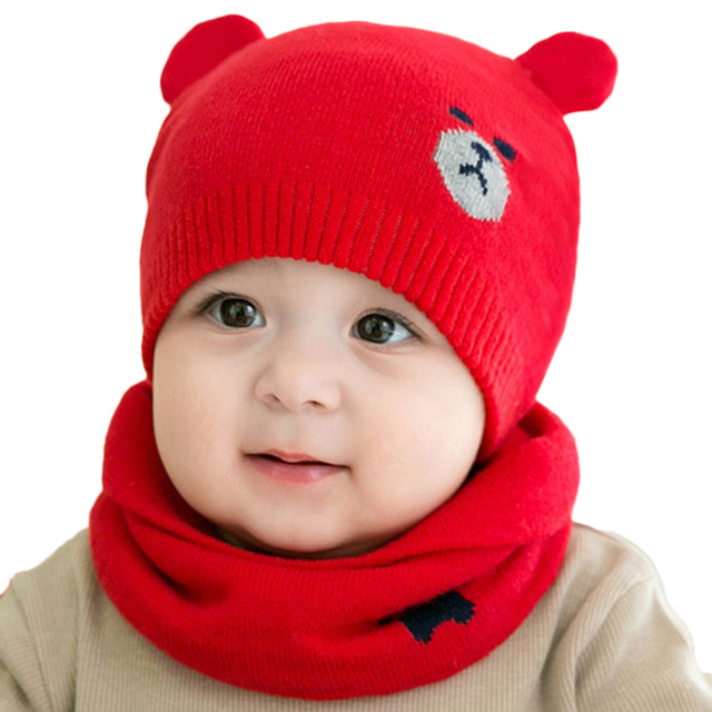 2270caf6b US $3.15 5% OFF|2Pcs Set Baby Newborn Hats Scarves Cute Bear Knitted Warm  Beanies Cap Child Kids Protect Ear Boys Girls Winter Hat Scarf Suits-in ...
