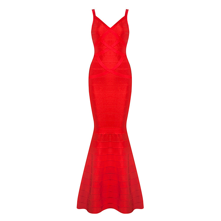 wholesale new long dress Red and black V neck sling Tight sexy Celebrity temperament Cocktail party