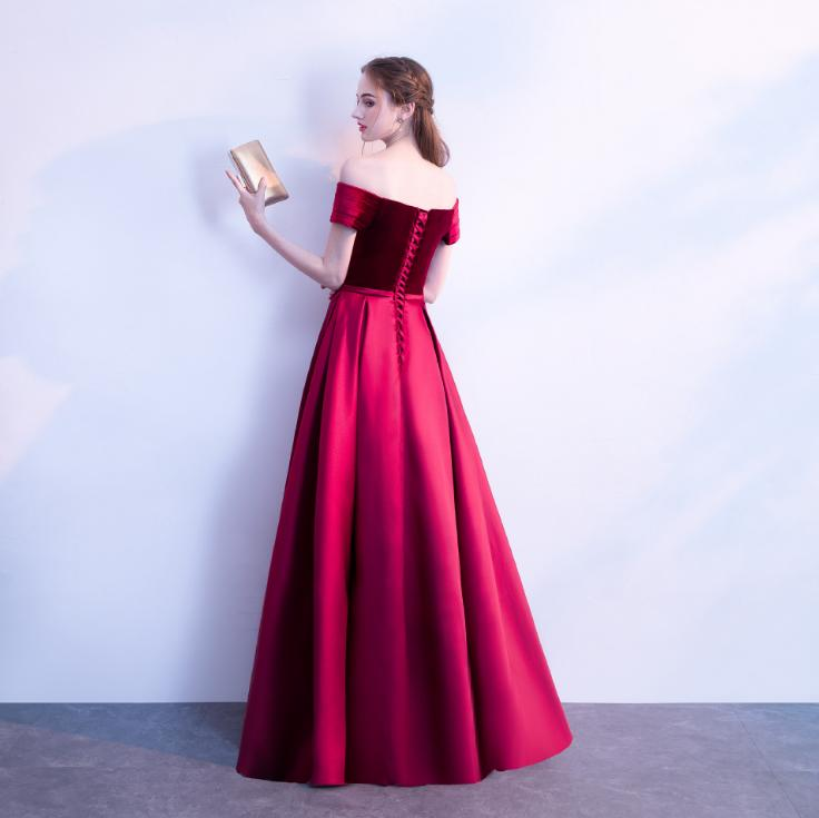 BANVASAC 2018 Velour Boat Neck Satin Sash A Line Long Evening Dresses Off The Shoulder Backless Party Prom Gowns in Evening Dresses from Weddings Events