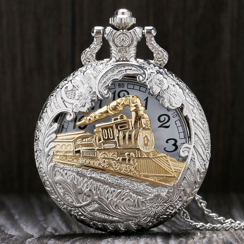 New Fashion Cool Hollow Silver & Golden Locomotive Quartz Design Pocket Watch With Necklace Chain Gift To Women Mem
