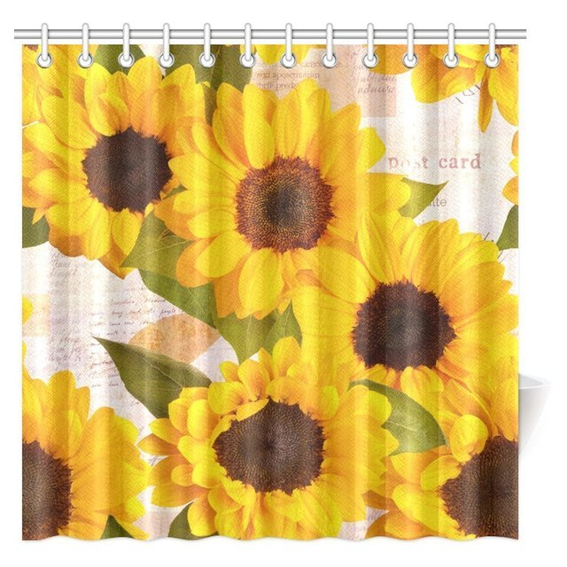 Aplysia Sunflower Shower Curtain Vintage Rustic Looking Grunge Sunflowers Field Blooms Fabric Set With Hooks