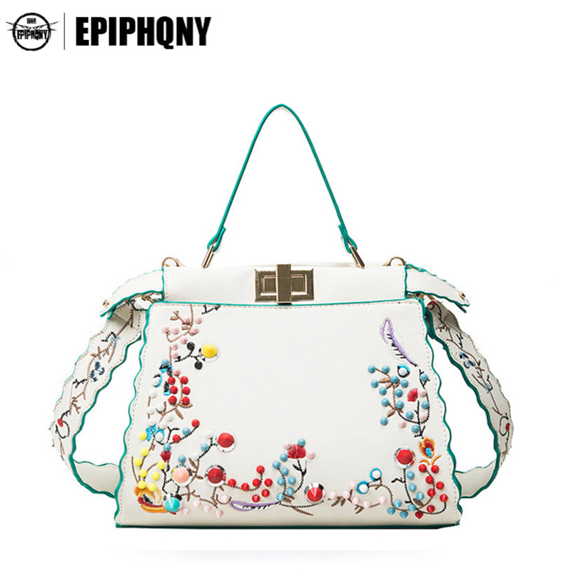 Luxury Handbag Women Bags Designer Fashion Flower Embroidery Shoulder Bags Female Tote Hand Bag with Colorful