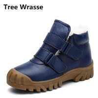 Children Genuine Leather Shoes Winter Boys Girls Snow Boots New Style Plush Cotton Shoes Non-slip Kids Rubber Martin Boots