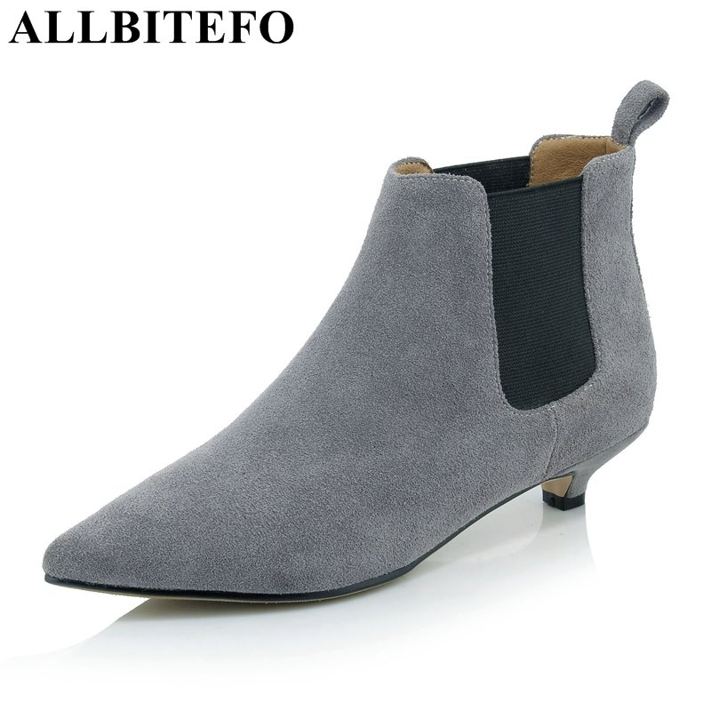 ALLBITEFO fashion brand genuine leather pointed toe low-heeled women boots thin heel Elastic band martin boots ankle boots woman ankle strap martin boots pointed ends genuine leather boots thin heel women ankle boots fashion punk style winter boots