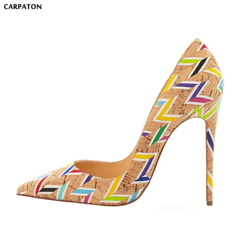 Carpaton 2018 Newest Sexy Hit color Stripe models Women  Thin high heels Pointed Toe Design Trend girl  Classic Style shoes