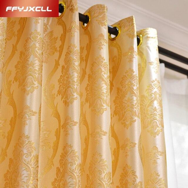 1 Piece Polyester Cotton Gold Jacquard Curtains For Windows Drapes Elegant Noble Blackout Curtain Living