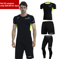 3 Pieces Mens Sports Suits Running Clothes For Men Short Compression Tights Gym Fitness Fashion T