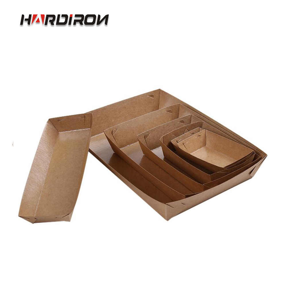 HARDIRON 50PCS Kraft Paper Disposable Oil-proof Boat Box Hot Dog Fries Fried Chicken Nuggets Packaging Tray Open Box