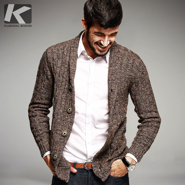 KUEGOU Autumn Mens Sweaters 100% Cotton Knitted Cardigan Knitting Brand Clothing Man's Slim Knitwear Clothes Sweatercoats 16866