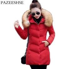 PAZEESHSE New Coat Zipper Slim Down Jacket Hooded Women s Winter Jacket Solid Casual Female Coats