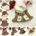 1 unids Girls Leopard zorro imitación abrigo de cuello de piel ropa con la flor desgaste otoño invierno ropa niños del bebé chaqueta de vestir