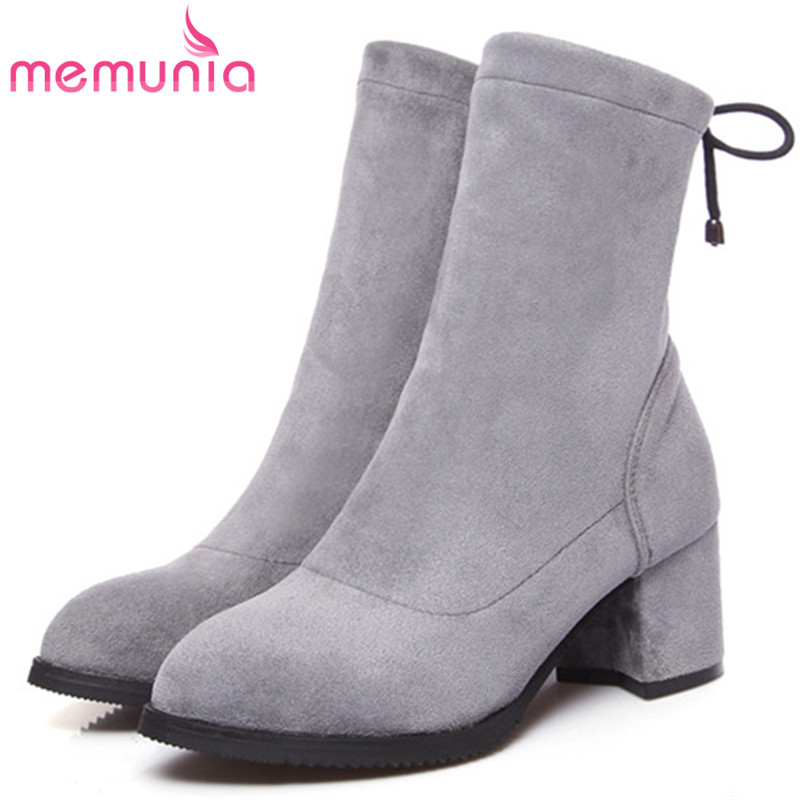 MEMUNIA Flock solid pointed toe high heels shoes woman ankle boots for women fashion shoes autumn boots female big size 34-43 memunia 2017 fashion flock spring autumn single shoes women flats shoes solid pointed toe college style big size 34 47