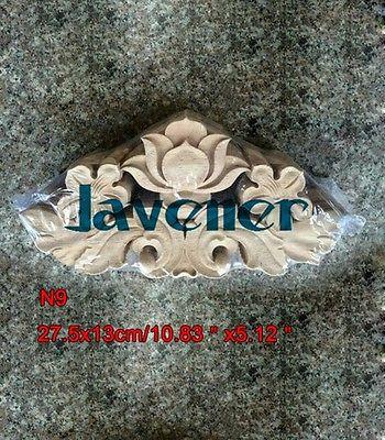 N9 -27.5x13cm Wood Carved Long Onlay Applique Unpainted Frame Door Decal Working Carpenter Flower