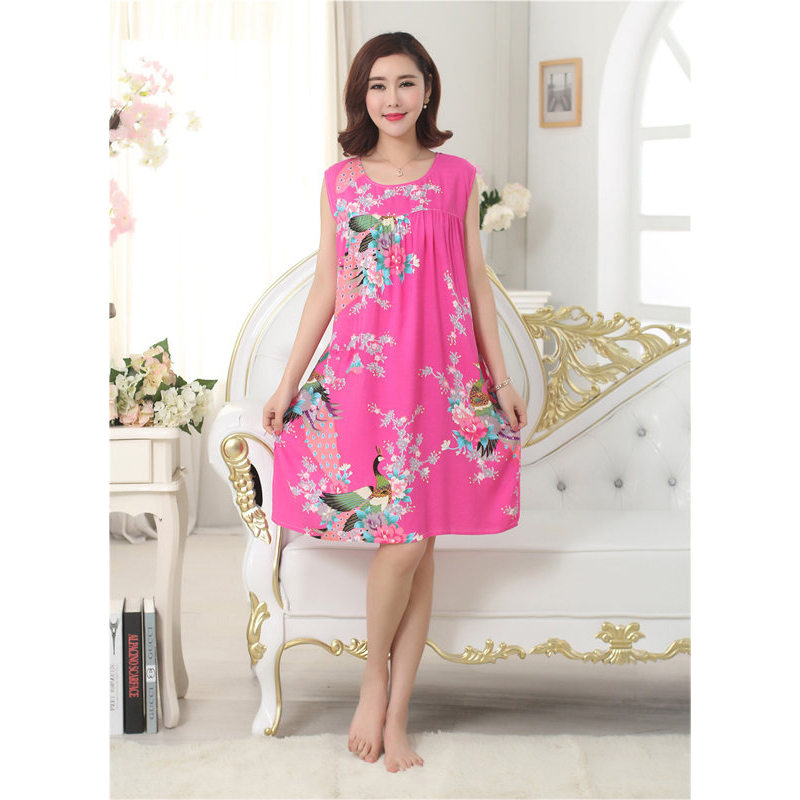 Women Sleeveless Shoulder Cotton Mom Nightwear Club Dress Coton nightgown Loose Vestido Size Home Sleepwear in Dresses from Women 39 s Clothing