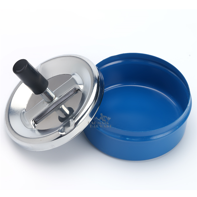 Black Round Push Down Ashtray Metal SpinningTray Easy to Clean Black Color Air Tight Bar Accessory in Other Bar Tools from Home Garden