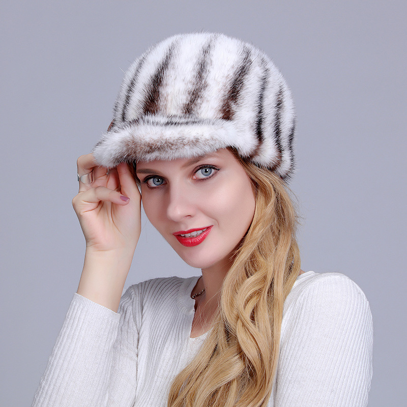 Fur imported mink tail short eaves lady hat winter fashion cute Korean version knight hat leisure warm cotton hat foreign trade explosion models in europe and america in winter knit hat fashion warm mink mink hat lady ear cap dhy 36