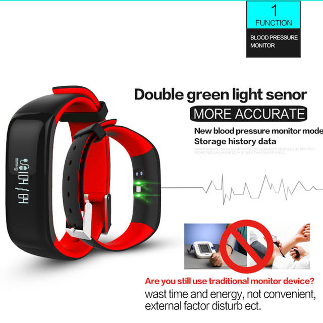 US $31 24 |P1 Bluetooth Smart Band Blood Pressure Heart Rate Monitor  Fitness Tracker for IOS Android Phone-in Smart Wristbands from Consumer