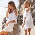 Summer Fashion Women Hollow Out White Beach Dresses Mini Loose  Flare Sleeve Dress plus size women clothing