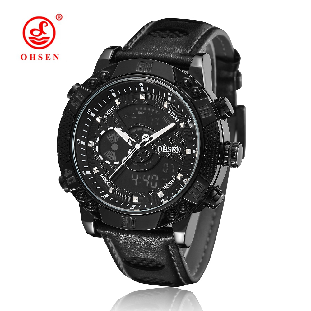 2017 NEW OHSEN Men Fashion Wristwatches Luxury Famous Brand Men's Leather Strap Watch Waterproof Sports Watch With High Quality high quality 30 m waterproof effort new men fashion luxury famous brand men s leather strap sports watch multi time zones