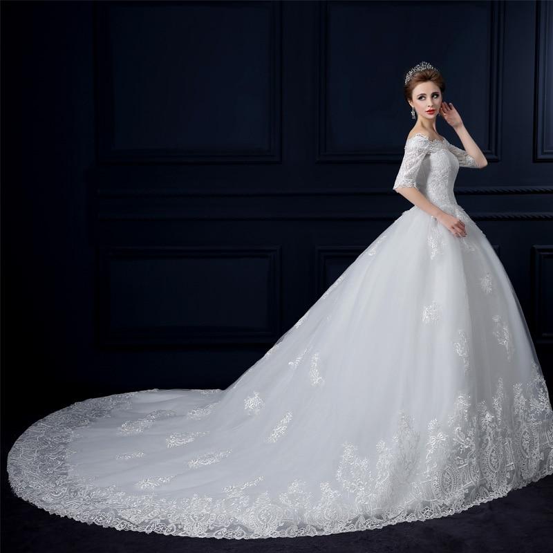 2016新しい有名なデザインのアップグレード王女のウェディングドレスチューブトップビッグ列車のレースのウェディングドレス