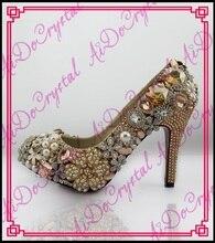 Aidocrystal Handmade Fashion Gold Birne Hochzeit Schuhe Strass Runde Kappe Schuhe Dame-parteischuhe Frauen Abend High Heel-schuhe