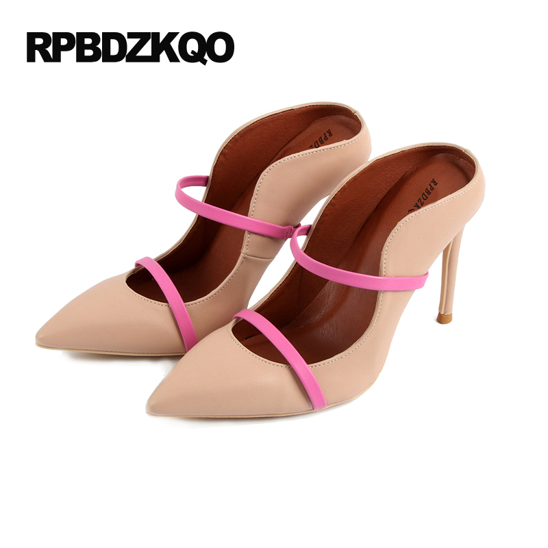 Thin Casual Shoes Women Strap High Heels Abnormal 33 Nude Sandals Pointed Toe Pumps 4 34 Small Size Mules Slipper Ultra Strange 2017 fashion women pumps casual shoes pointed toe low heels mules double strap slip on slippers button leisure shoes