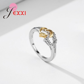 Female Heart with Heart Shaped Romantic Pure 925 Silver Rings With Cubic Zirconia Women Bridal Wedding Bague Bijoux 1