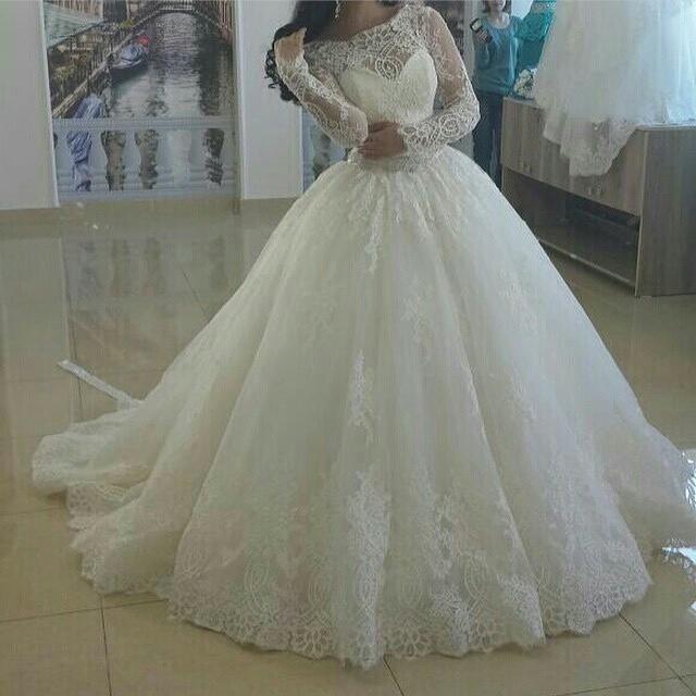 Glamorous Scoop Neck White Lace Bodice Liqued Long Sleeve Puffy Princess Wedding Dresses Muslim Floor Length