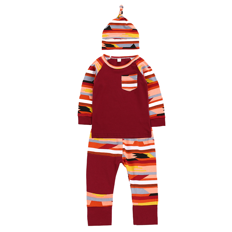 Newborn Baby Clothing Set Camouflage Stripe Long Sleeve T-shirts+Pants+Hats 3pcs Infant Cothes Autumn Girls Boys Clothing Sets