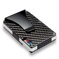 Stylish Minimalist Blocking Carbon Fiber Ridged Edge Wallet Money ID Credit Card Holder