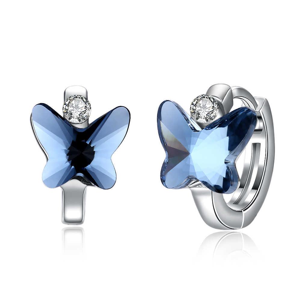98b1ba49e ... INALIS Brand LEKANI Crystals from Swarovski Blue Butterfly Hoop Earrings  for Women Fine Jewelry Silver 925 ...