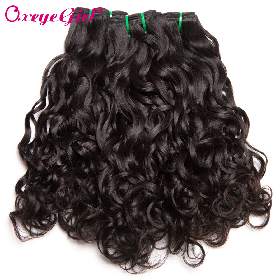 Oxeye girl Peruvian Hair Bundles Water Wave Human Hair Bundles 10 28 Double Weft Remy Hair