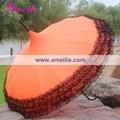 Free shipping Victorian Bride Pagoda Shape Wedding Sun Umbrella with Black Lace Frill ,6 pcs a lot