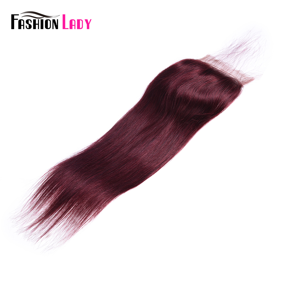 Fashion Lady Pre-Colored Peruvian Hair 4*4 Inch Wine Red Closure #99j Straight Human Hair Lace Closure Non-Remy