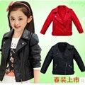 Crianças casacos roupa das Crianças 2017 moda primavera e no outono do bebê da menina do menino roupas outerwear de Couro Falso criança jaquetas 2 cor