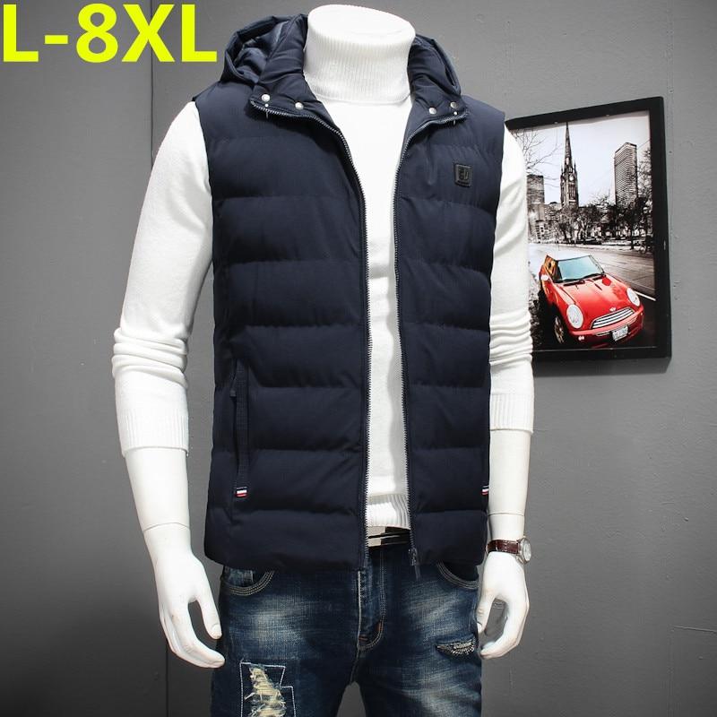 2017 new big size 8XL 7XL 6XLhigh qualit Men's cotton vest winter Men's fashion hooded vest casual warm Large size men's jackets