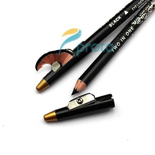 новое постулат! 12 шт./лот косметика очень водонепроницаемый подводка для глаз pencial с общей черный и коричневый цвета в одном pencial mk02389