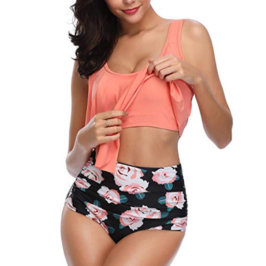 Liva girl Leopard Bikini woman Ruffled Brazilian High Waisted Swimwear Sexy Floral Printed Tummy Control Bikini Set Plus Size
